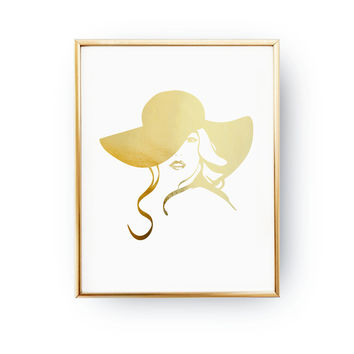 Hat Pink Lips Print, Real Gold Foil Print, Hairstyle Poster, Woman Headgear, Fashion Accessories, Beauty Wall Decor, Wardrobe Art, Big Lips