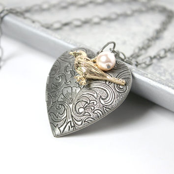 Long Brushed Silver Heart Locket Necklace with Gold Bird Charm - Vintage Style Jewelry - Neovictorian Locket Jewelry - Romantic Jewelry