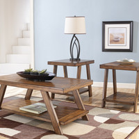 Bradley Rustic Plank Coffee Table Set by Ashley Furniture