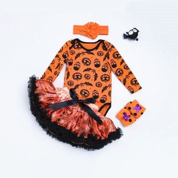 Halloween Baby Costume Baby Girls Boys Rompers Newborn Long Sleeves Pumpkin Jumpsuit+Tutu+Headband+Leg Warmer 4Pcs Baby Rompers
