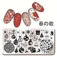1 Pc 12*6cm Rectangle Nail Art Stamping Plate Christmas Stamp Plate Snowflake Xmas Stamping Image Plate for Nail Art Stamping