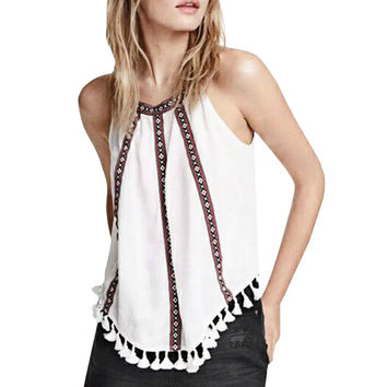 Vest for Women New Design Lady Fashion Tops Casual Suspender Off the shoulder Back Button Asymmetric Stripe Print Tassel Loos