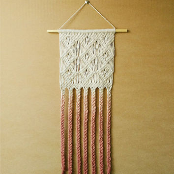 Ombre Macrame Wall Hanging with Warm Ombre Rose Copper Effect (boho wall hanging)