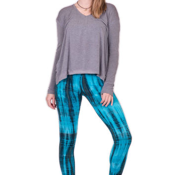 Turquoise Lightning Stripes Tie Die Leggings
