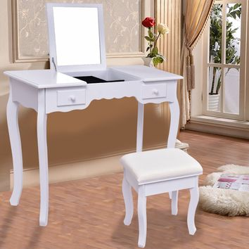 Giantex White Vanity Dressing Table Set Mirrored Bathroom Furniture With Stool Table Modern Make Up Dressers Desk HW56231WH