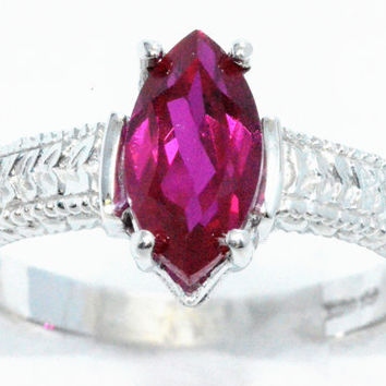 2 Carat Ruby Marquise Ring .925 Sterling Silver Rhodium Finish White Gold Quality