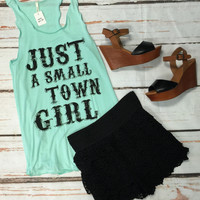 Small Town Girl Tank: Mint