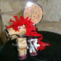 Texas A&M Christmas ornament - wine cork horse ornament, gift tag, bottle tag, alumni gift