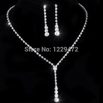 New Fashion Celebrity Style Tennis Drop Crystal Necklace Earrings Set for Women Bridal Bridesmaid Wedding Jewelry Sets