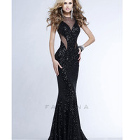 (PRE-ORDER) Faviana 2014 Prom Dresses - Black Sequin Mermaid Silhouette Prom Gown