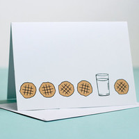 Peanut Butter Cookies and Milk Note Card