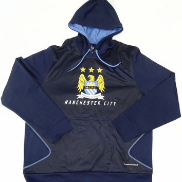 Manchester City FC Majestic ThermaBase Pullover Hooded Sweatshirt Size L