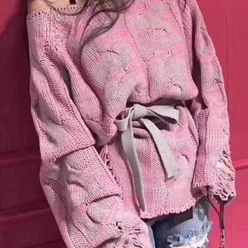 Pink Cut Out Asymmetric Shoulder Long Sleeve Casual Pullover Sweater