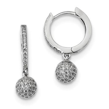 Sterling Silver & Zirconia Rhodium Earrings