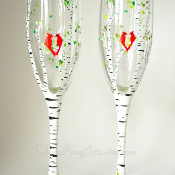 Hand Painted Champagne Glasses-Cardinals; birch tree glasses, cardinal glasses, wedding glasses, bride and groom,  bridal shower gift