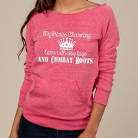PINK SLOUCHY sweater. Military clothing. usaf army navy USMC. At Ease Designs
