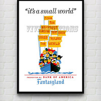 Vintage Fantasyland It's A Small World Disneyland Attraction Poster Reprint -- Not Framed 18x24 - Buy 2 Get 1 Free!