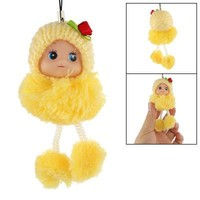 Gino Yellow Pom Pom Knitting Cap Doll Charm for Mobile Phone