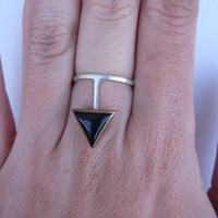 Onyx Triangle Silver Plunge Ring