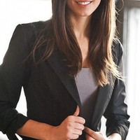 Black Classic  Ruched  Blazer - Diva Hot Couture