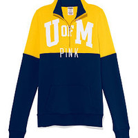 University of Michigan Colorblock Half Zip Pullover - PINK - Victoria's Secret