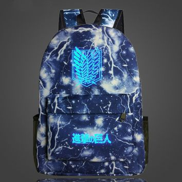 Cool Attack on Titan Anime  Galaxy Luminous Backpack School Backpack Womens Mens Daily Laptop Backpack Teens Survey Corps School Bag AT_90_11