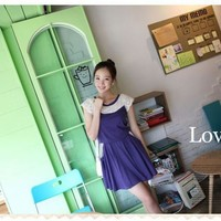 Playful Two Toned Hollowed Lace Neckline Purple Tunic Short Sleeved Dress
