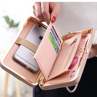 2017 Purse wallet female big capacity brand card holders cellphone pocket gifts for women money bag clutch wristlet bags Bow tie