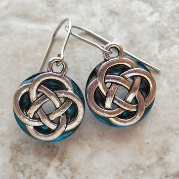 celtic knot earrings: blue - dangle earrings - irish earrings - celtic jewelry - endless knot - unique gift - mothers day