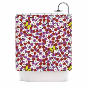 "Setsu Egawa ""Cherry Blossom And Butterfly"" Red Pink Shower Curtain"