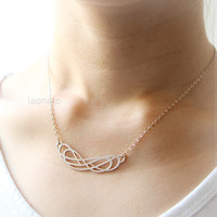 Multi Infinity Necklace in matte brown gold plated 925 sterling silver, twisted necklace