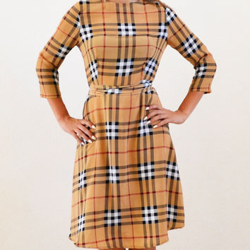 Grace Plaid Midi Modest Dress