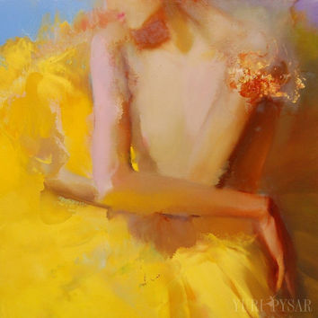 Golden Canvas Print of a Woman Painting, Giclee Print Ballet Dancer Canvas Art, Modern Print Gift for Her