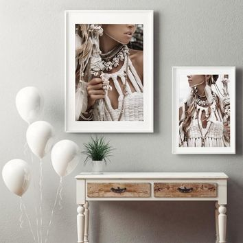 Native Beauty Girl Poster Canvas Art Print , Bohemian Native Women Photography Canvas Painting Wall Picture Art Home Decor
