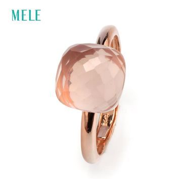 MELE Natural rose quarts silver ring , light pink color, cushion 10mm*10mm ,checkboard cutting, fashion jewelry ring