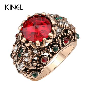 Kinel Red  Satellite Stone Rings For Women Color Ancient Gold Vintage Jewelry Crystal Ring Love Gift