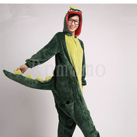 Adult Onesuits Kigurumi Dinosaur Pajamas for Women Girls Men Boys Flannel Pajamas Sets Animals  Pyjamas Unisex (Slipper Not Included)