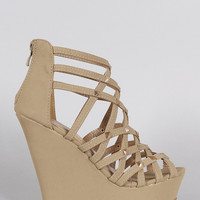 Vegan Suede Strappy Criss Cross Peep Toe Studded Wedge