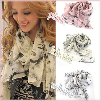 Beauty Sexy Pretty Marilyn Monroe Lip Heads Print chiffon Scarf Shawl Neck Wrap Stole = 1957878020