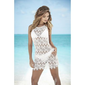 White Crochet w/ Fringe Beach Dress Cover-Up
