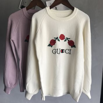 GUCCI  Knitted and embroidered rabbit fur thermal sweater
