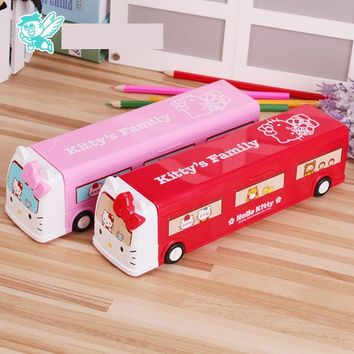 1PC Quality Multifunctional Catoon Hello Kitty Car pencil box school girls Birthday Xmas Gifts Party Favor stationary Pen case