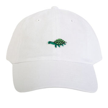 Green Turtle Patch Dad Hat ~ White