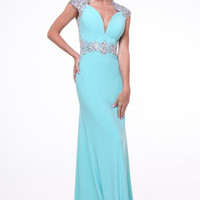 PRIMA 17-8901 Cap Sleeve Jersey Prom Dress Evening Gown