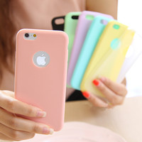 Fashion Solid Candy Color Matte Skin Case for iPhone 6 TPU Soft Back Cover for Apple iPhone 6S 6 S Phone Case 4.7 inch 8 Colors
