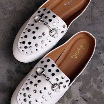 Studded Horsebit Ornament Mule Flat | UrbanOG