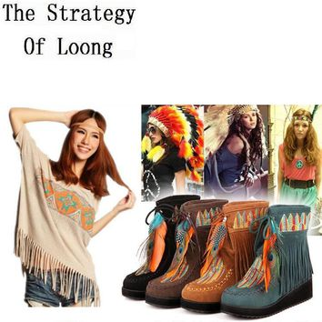 Indian Style Retro Fringe Boots Flock Chunky Feather Women Ankle Short Boots Tassels B