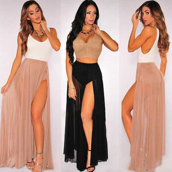 Summer Women Girls Skirts Sexy  Chiffon Casual Party Evening  Beach Long Maxi  Skirts