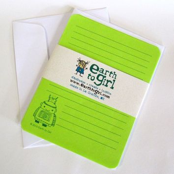 Robot Watts Lime Green Stationery Set