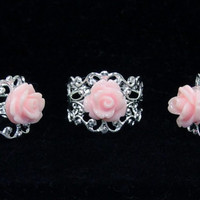 Custom Ring Rose and Silver Filigree Adjustable Vintage Style Band You Choose Color